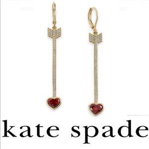 kate spade Gold-Tone Crystal Heart Arrow Earrings
